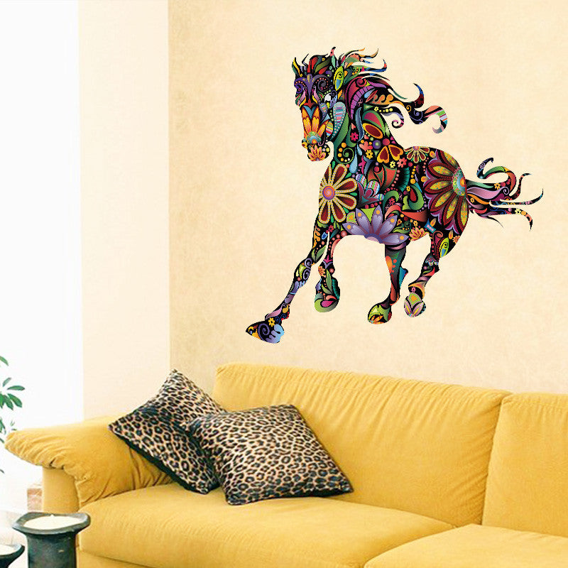 Flower Pattern Horse - Decorative Wall Decal Colorful Wall Sticker