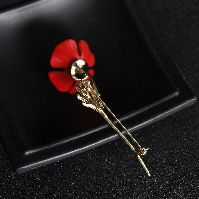 Red Poppy Flower Brooch Vintage Collar Pins Jewelry Brooches Pins ...
