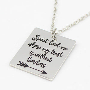 'SPIRIT LEAD ME' HAND STAMPED LYRIC PENDANT SILVER NECKLACE