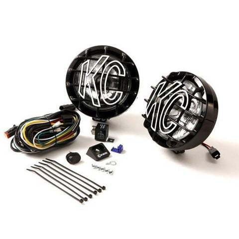 "6"" Slimlite Halogen Pair Pack System Light Kit - Driving/Spread Black Powder Coated"