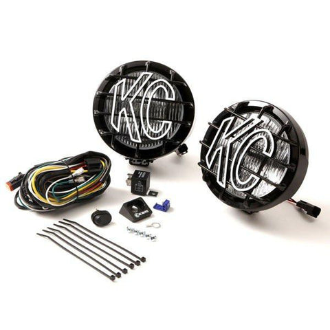 "6"" Slimlite Halogen Pair Pack System Light Kit - Fog/Flood Black Powder Coated"