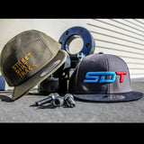 SDT Puff Embroidered Logo on Wool Blended Snapback-Hat-Charcoal Gray/Black-Street Dirt Track