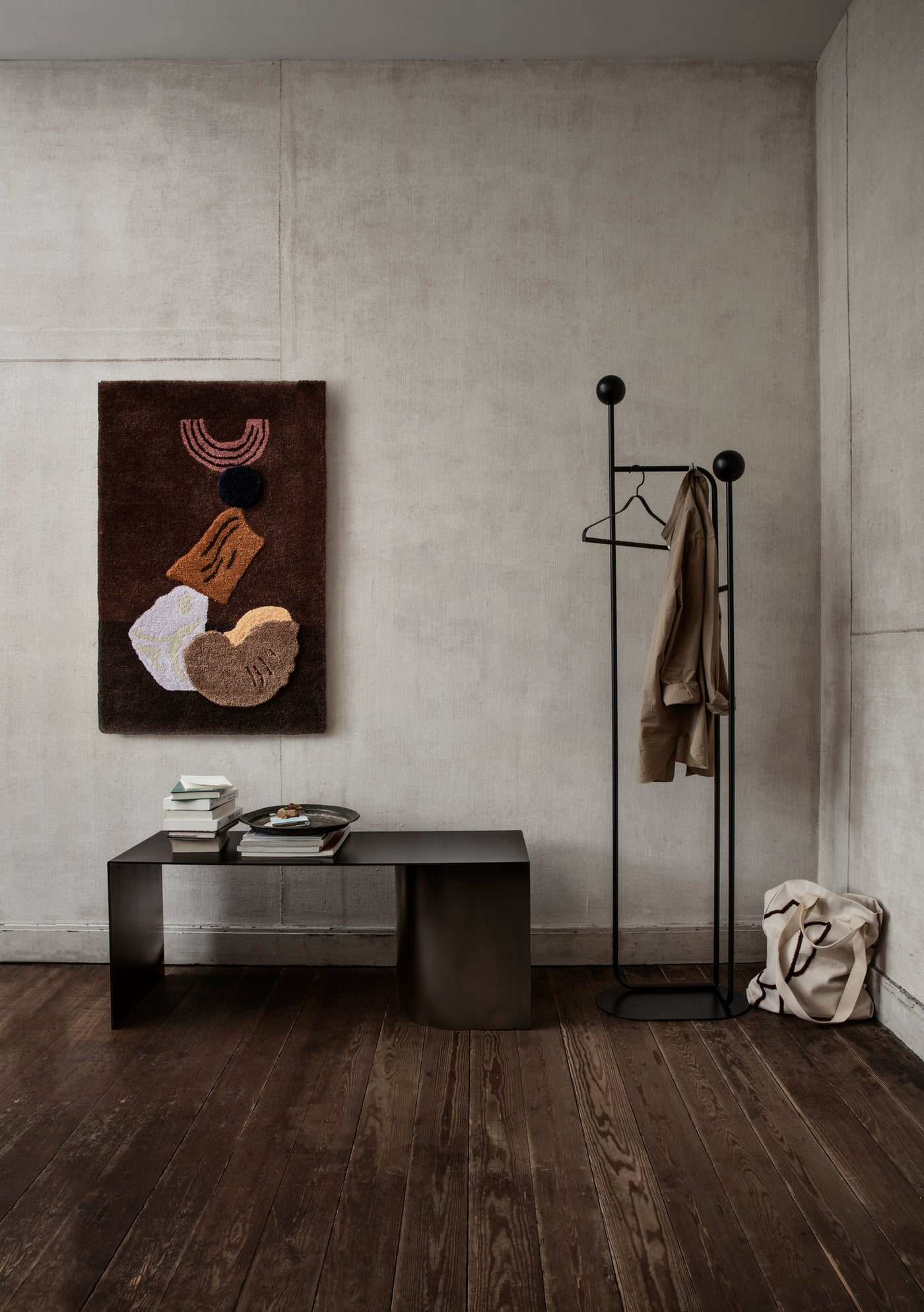 Ferm Living Pujo coat stand and Place Bench, available to buy from someday designs