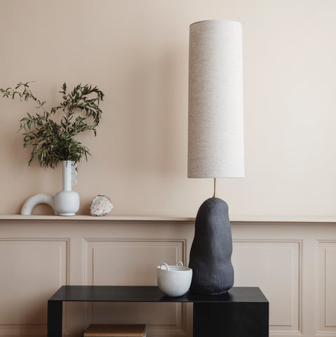 Ferm Living Hebe Lamp Base Large in black and lampshade long in off-white, available from someday designs