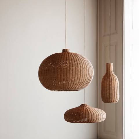 Ferm Living hand-braided rattan ceiling pendant light series, available from someday designs