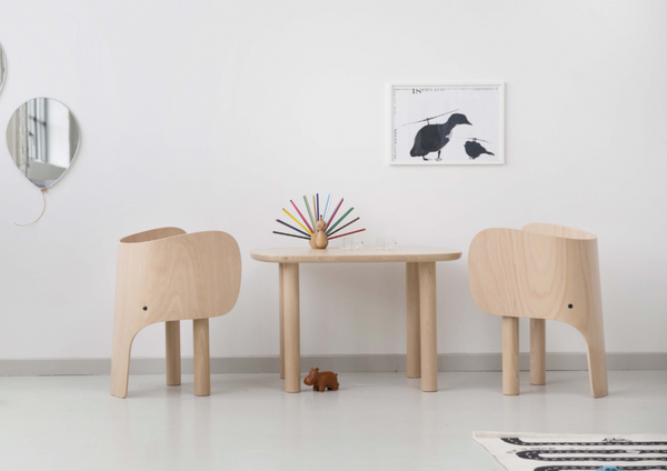 Design led children's homeware.  Elephant table and desk in Scandinavian inspired interior