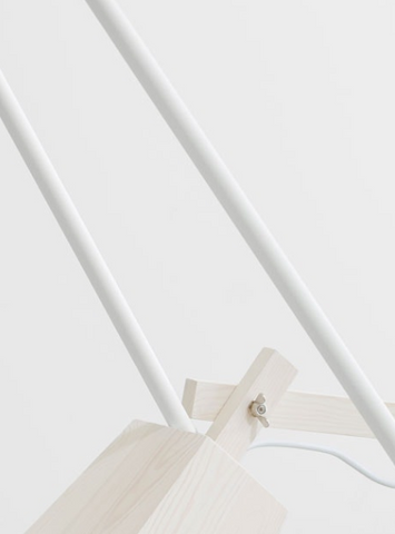 woody lamp and fiber stool by muuto