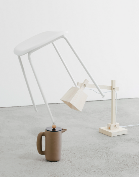 fiber stool and wood lamp by Muuto