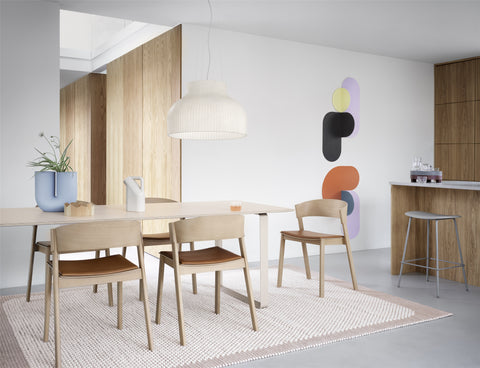 muuto cover side chair, muuto pebble rug, muuto strand pendant shop now at someday designs