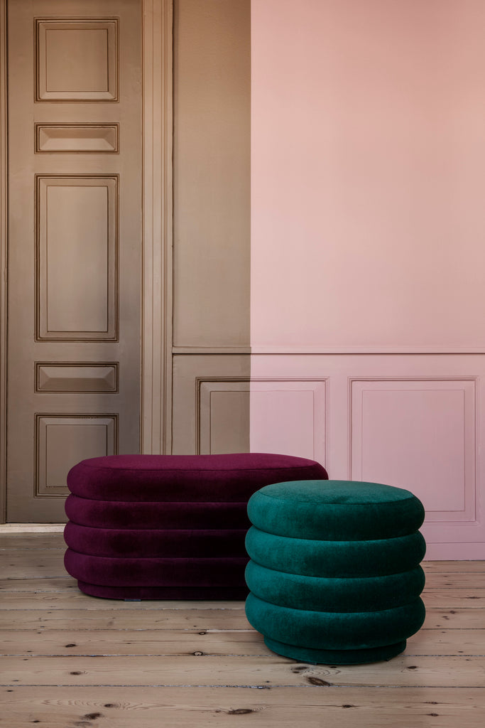 ferm living pouf round small in dark green and pouf oval in bordeaux, available from someday designs