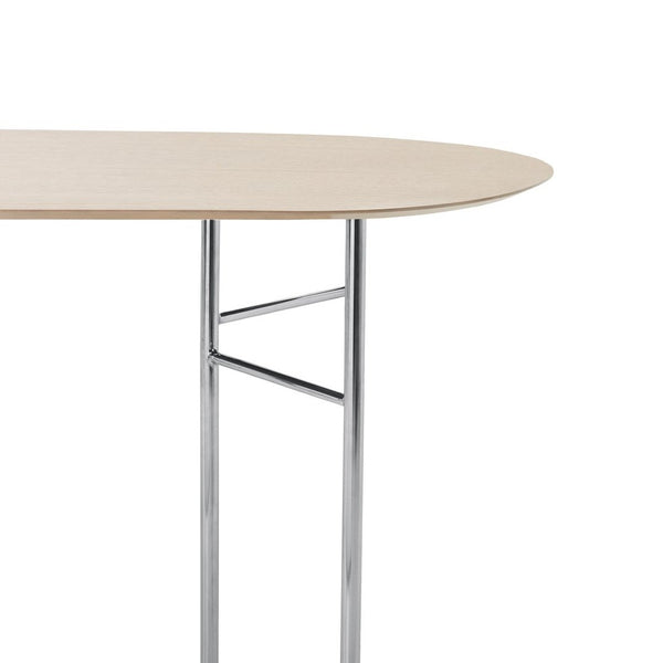 ferm living mingle table top oval 150cm natural oak veneer with chrome trestle legs, available from someday designs