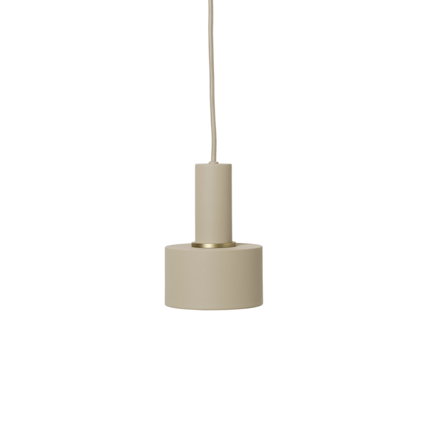 ferm living collect lighting series, socket pendant low paired with disc shade, both in cashmere. Available from someday designs