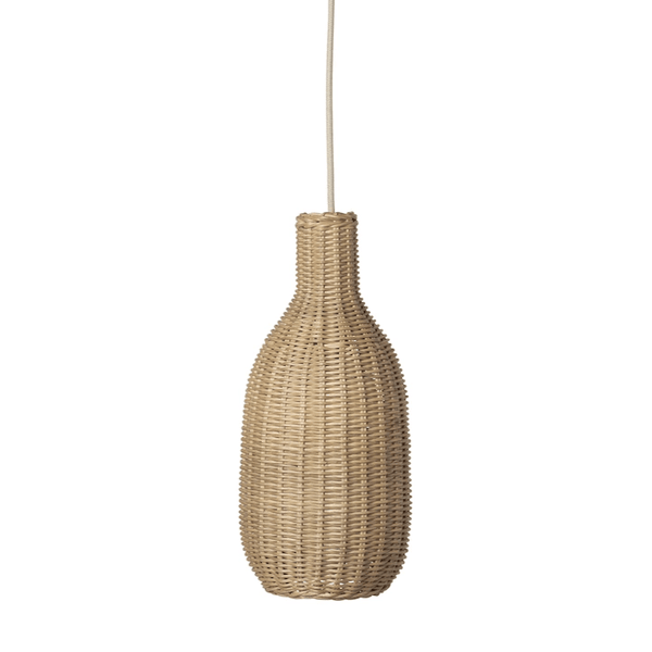 ferm living hand braided rattan bottle lamp shade, available from someday designs