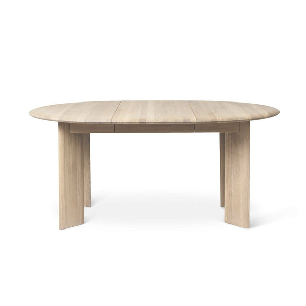 Ferm Living Bevel Table extendable Ø117-167cm in white oiled oak. Available from someday designs