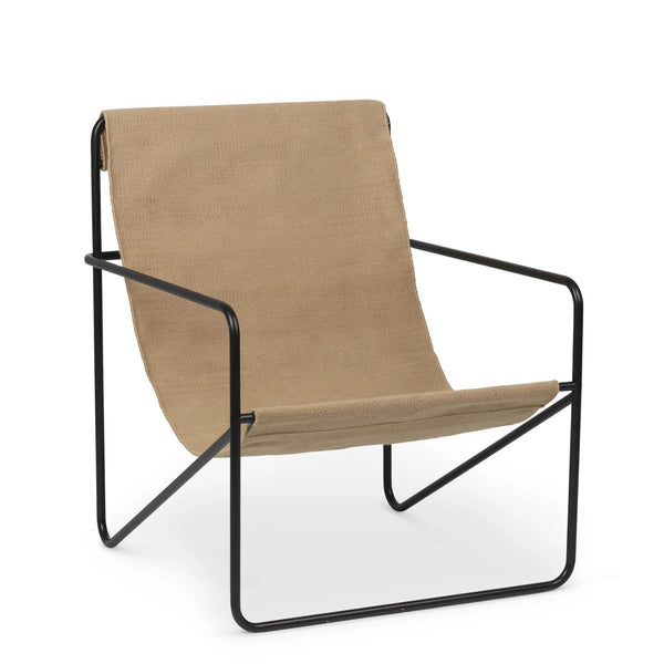 Ferm Living Desert chair with black steel frame and solid woven seat. Available from someday designs