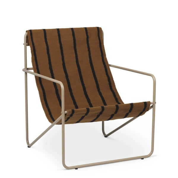 Ferm Living Desert chair with cashmere steel frame and stripe woven seat. Available from someday designs.