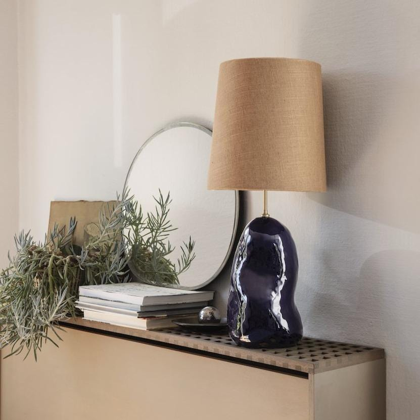 ferm living hebe lamp base medium in deep blue with a matching lampshade. Available from someday designs