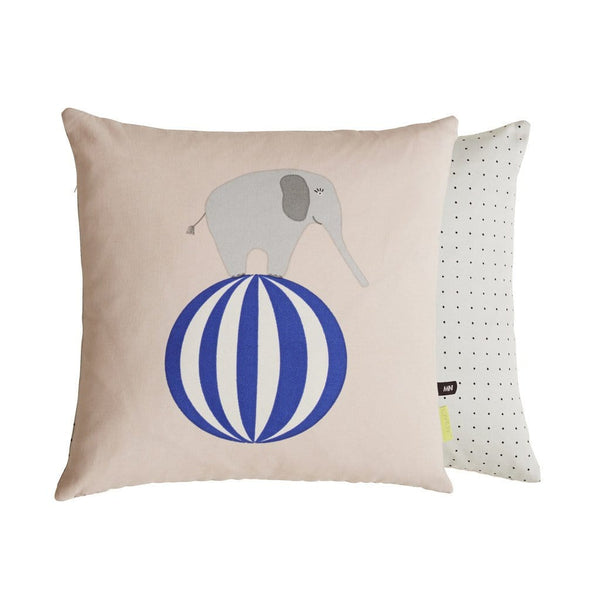 the beautiful elephant cushion with delicate dot pattern on reverse.  In a pretty pastel shell shade with striking blue it makes a stylish addition to any kids room.