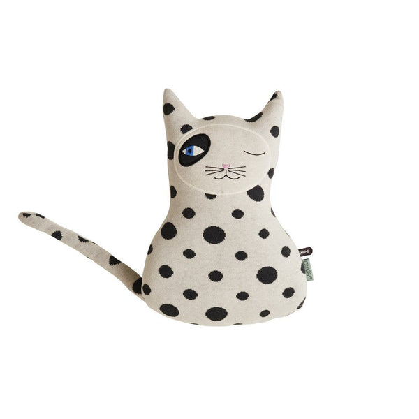 the cool cat zorro cushion by OYOY has a stylish monochrome spotty print and distinctive eye detailing.
