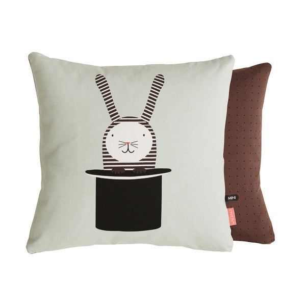 rabbit in hat magical trick cushion print with dot print reverse side from Danish design brand OYOY