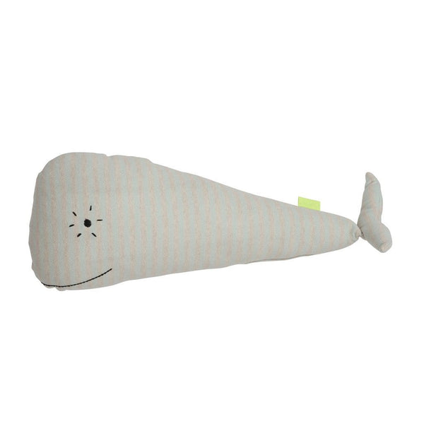 friendly and delicate whale moby cushion with cute embroidered eye and mouth detailing.