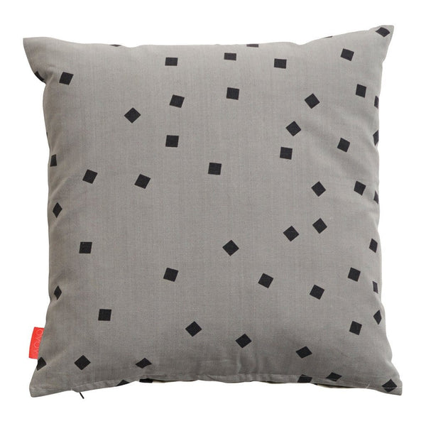 confetti cushion in monochrome with double sided colourway one side white and the other grey.  Simple and stylish cushion, Scandinavian inspired print.