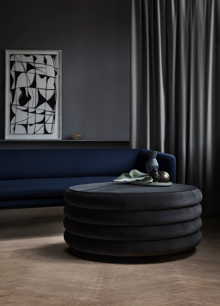 ferm living pouf round large grey, available from someday designs