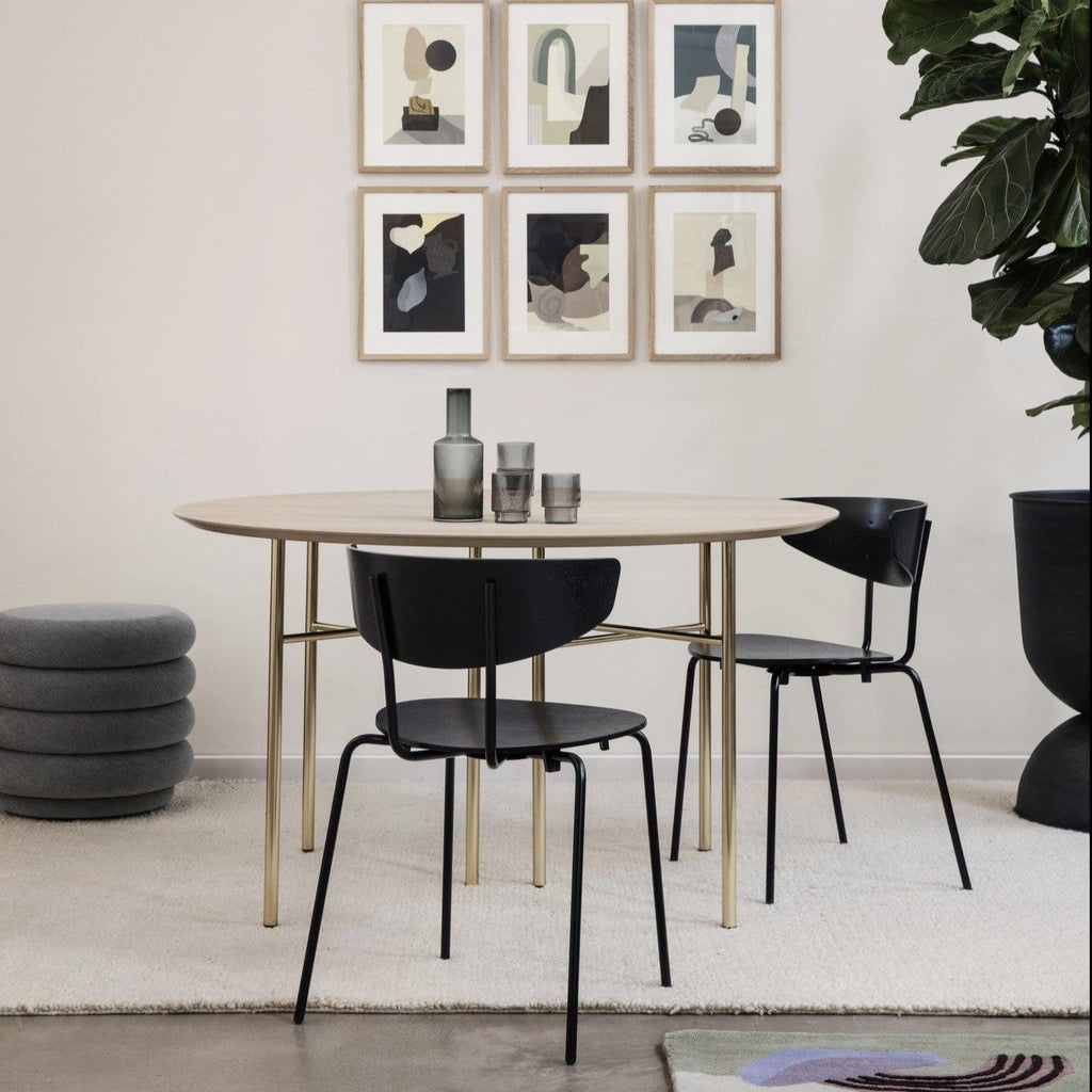 ferm living mingle table top round 130cm, natural oak veneer table top with brass legs. Available from someday designs.