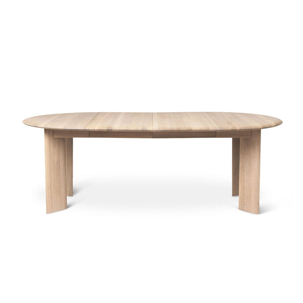 Ferm Living round Bevel Table extendable to 217cm in white oiled oak. Available from someday designs