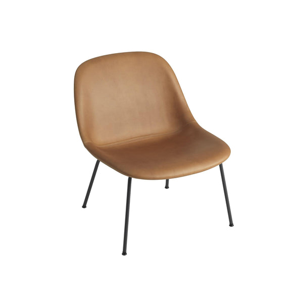 muuto fiber lounge chair cognac silk leather black base available from someday designs