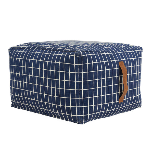 sit on me pouf square by OYOY with its grid monochrome pattern and leather handle offers a stylish additional seating solution