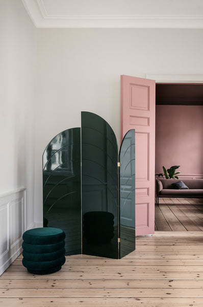 lifestyle setting of unfold room divider, dark green by Ferm Living