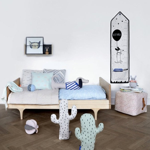 the rose square mini paddy pouf sits proudly in this Scandinavian styled children's room
