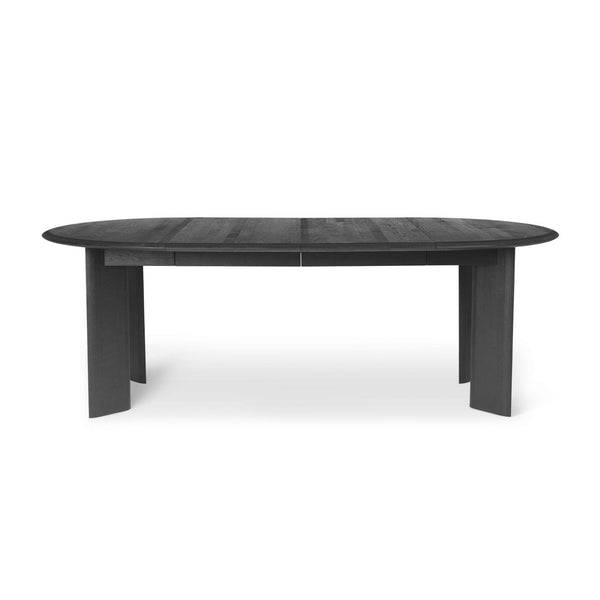 Ferm Living round Bevel Table extendable to 217cm in black oiled oak. Available from someday designs
