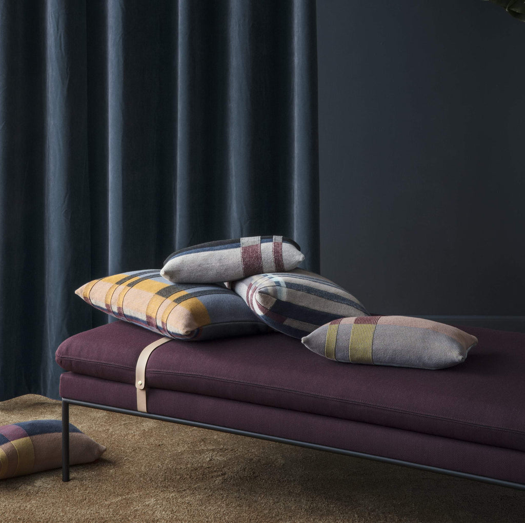 turn daybed in fiord kvadrat by ferm living bordeaux, harness leather straps with inky walls backdrop