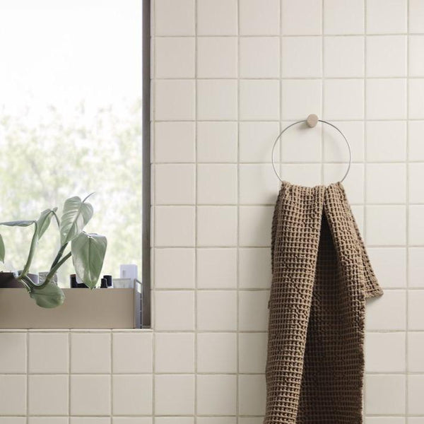 ferm living towel hanger in chrome for the bathroom. Available from someday designs