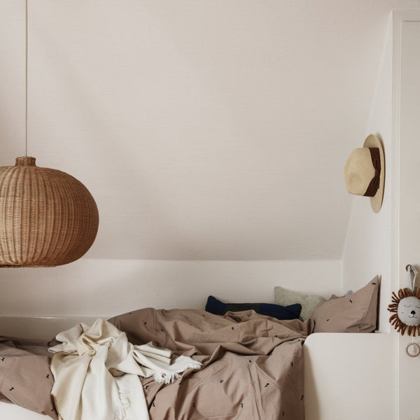 ferm living braided belly lamp shade in a kids bedroom, available from someday designs