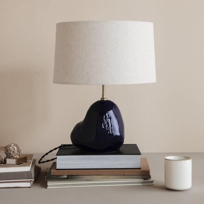 ferm living hebe lamp base small in deep-blue with hebe lampshade short in natural. Both available from someday designs