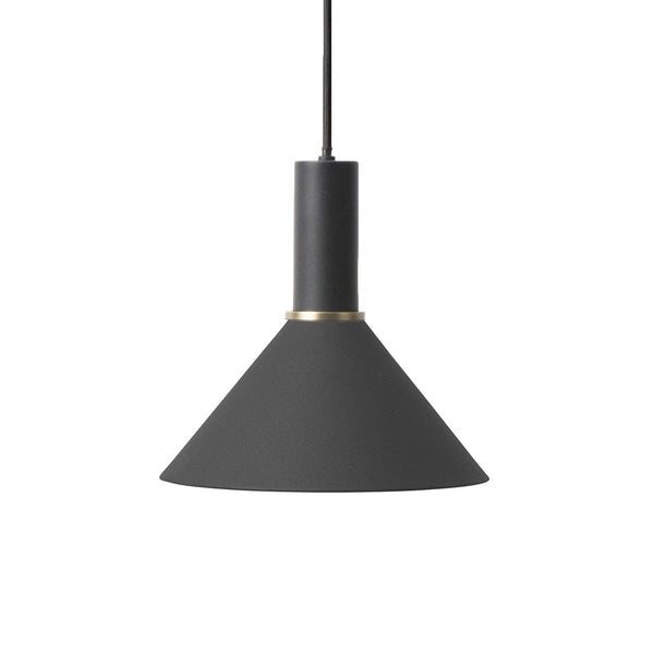ferm living collect lighting series, cone shade and socket pendant low in black. Available from someday designs