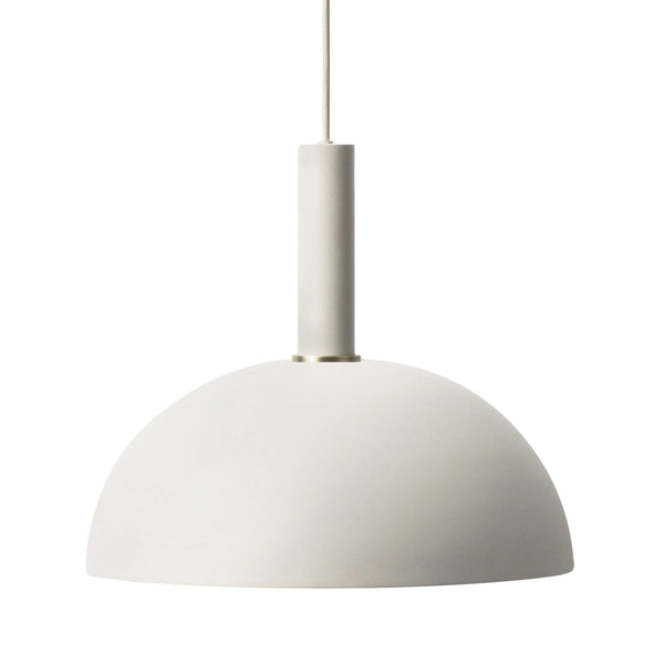 Ferm Living collect lighting series socket pendant high in light grey with dome shade in light grey. Available from someday designs