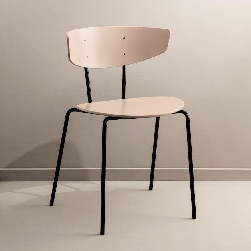 Ferm Living Herman Chair in dark rose with black legs. Available from someday designs.