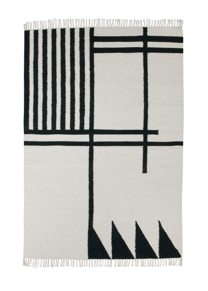 Kelim rug black lines from Ferm Living