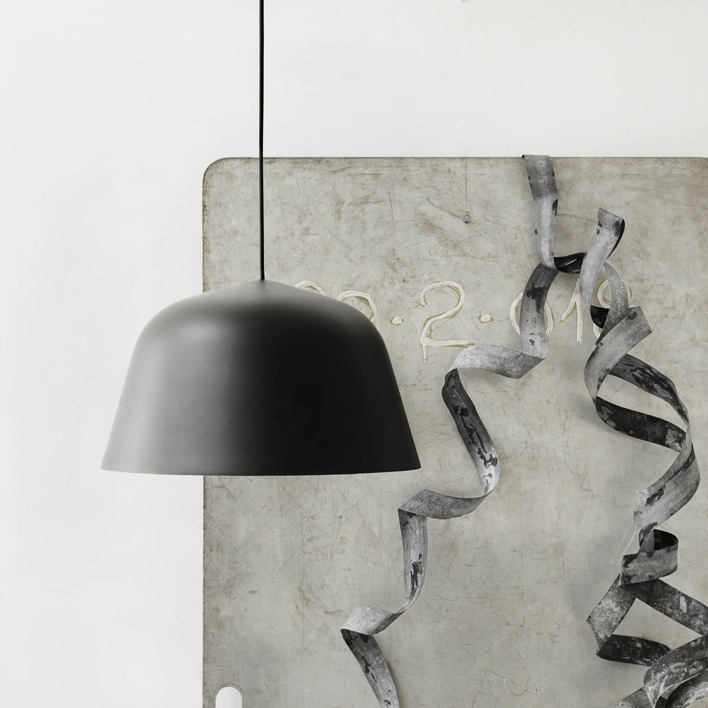 muuto ambit pendant lamp black with ribbon and concrete backdrop buy online at someday designs