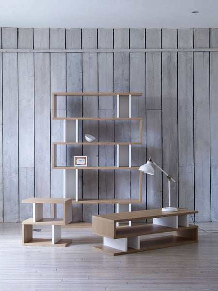 Lifestyle shot of Counter Balance Shelving and tables from Content by Terence Conran