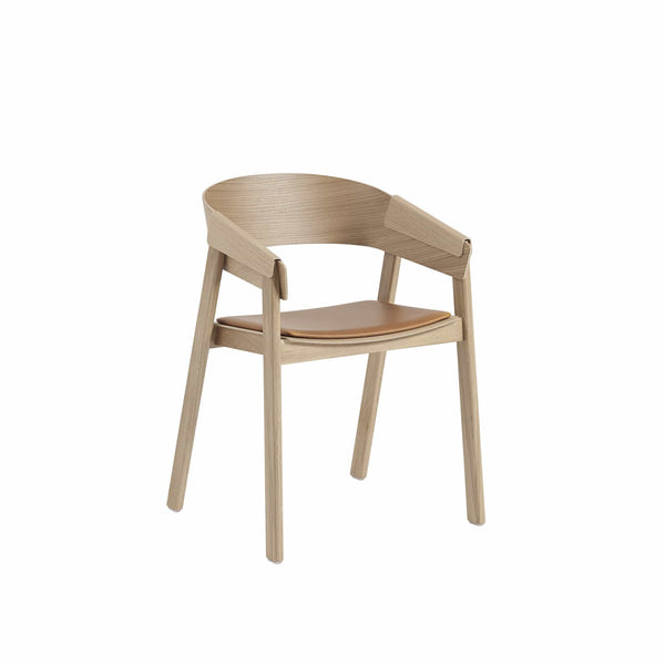 muuto cover armchair in oak and cognac refined leather seat, available from someday designs