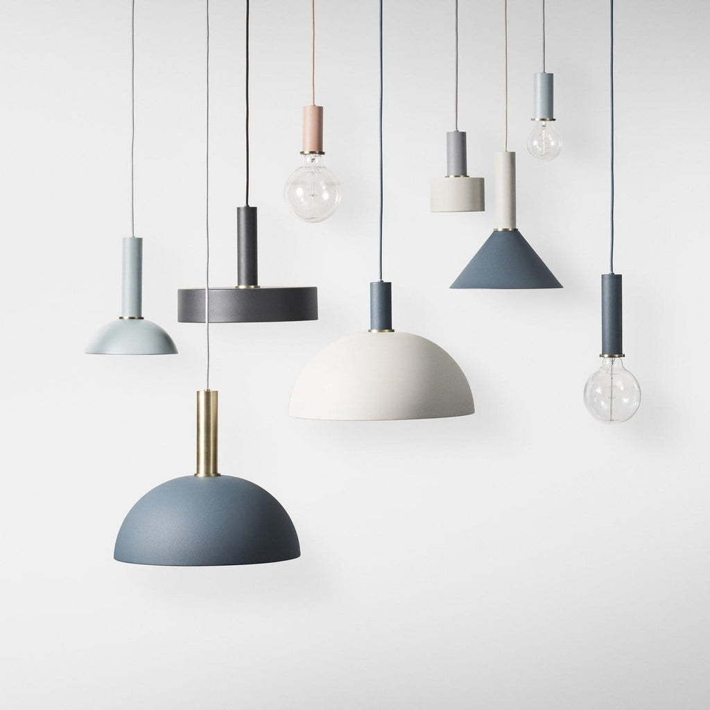 Scandinavian inspired lights with neutral and pastel finishes - create a unique combination of ceiling pendants from the collect lighting series from Ferm Living