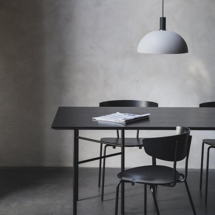 ferm living herman chair in black with black legs. Paired with Ferm Living Mingle table in black. Available from someday designs