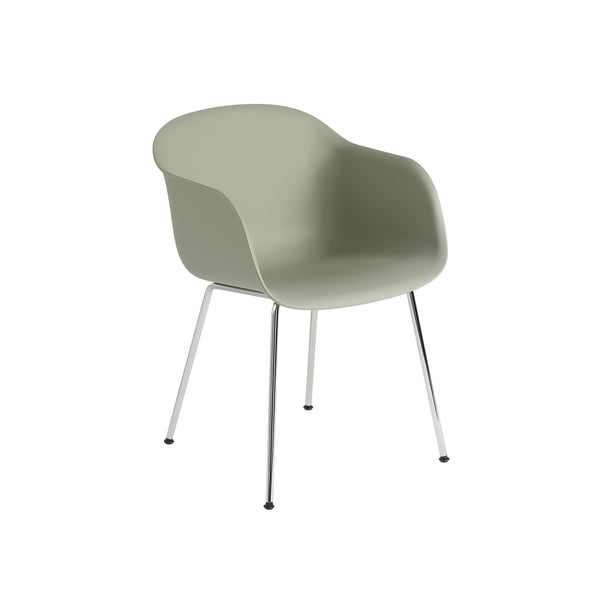 Muuto Fiber Armchair tube base in dusty green with chrome legs. Made to order from someday designs.