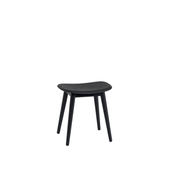 black fiber stool by muuto with wood base