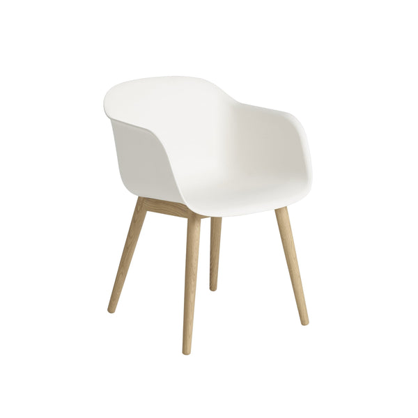 muuto fiber armchair in white with wood base, available at someday designs
